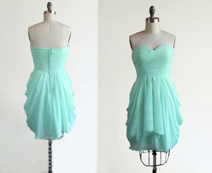 Mint Green Bridesmaid Dress Strapless Short Sweetheart Chiffon Junior