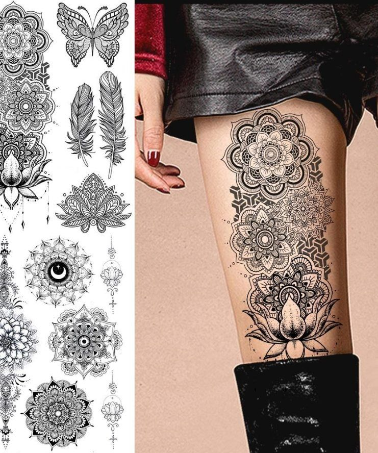 Large Black Henna Arm Tattoos Legs Bracelet India Mandala Flower Temporary Tattoo Mehndi Women Body Stickers Big Sexy Tattoo Art