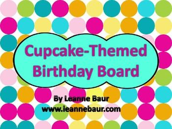 $2.50 Your students will love this adorable classroom display.  The set includes...*cupcake monthly header piece*programmable cupcake birthday pieces...