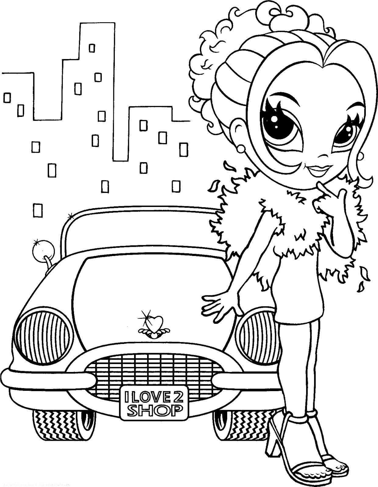 Lisa frank coloring pages girl with car | Lisa frank ...