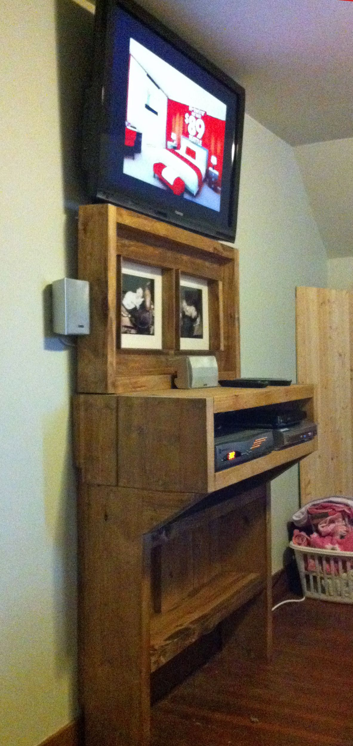 The Bedroom TV Shelf Project Wall mounted tv, Wooden