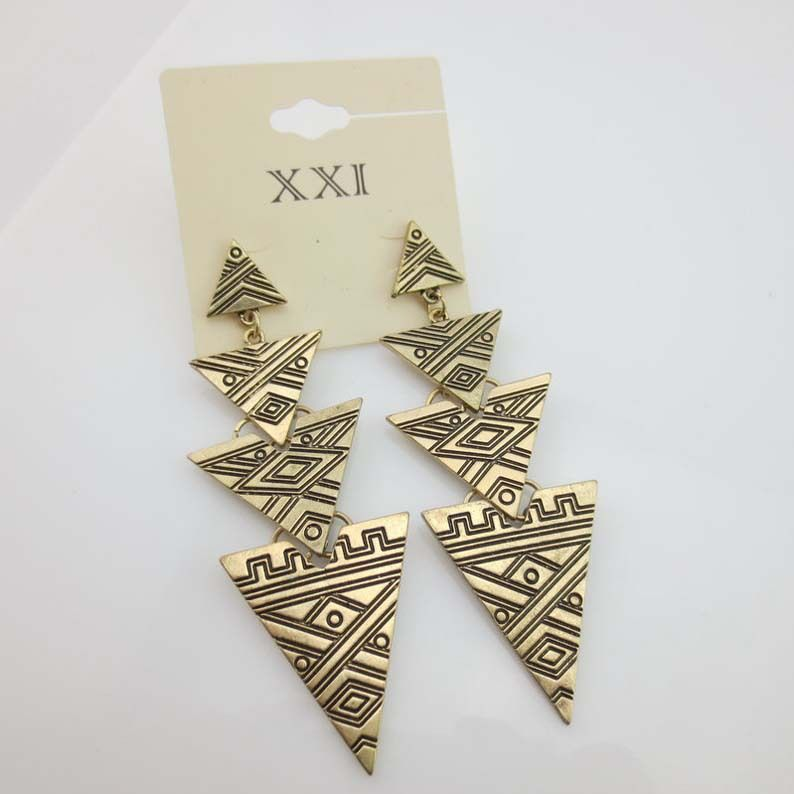 Min.order is $10 (mix order)Newest  Retro Personalization Punk Exaggerated Style Triangle Antique Bronze Earrings Free Shipping $1,48