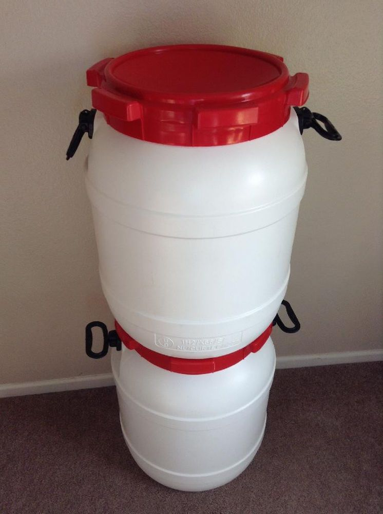 Two 13 Gallon Barrel Drum Plastic Multipurpose White Red