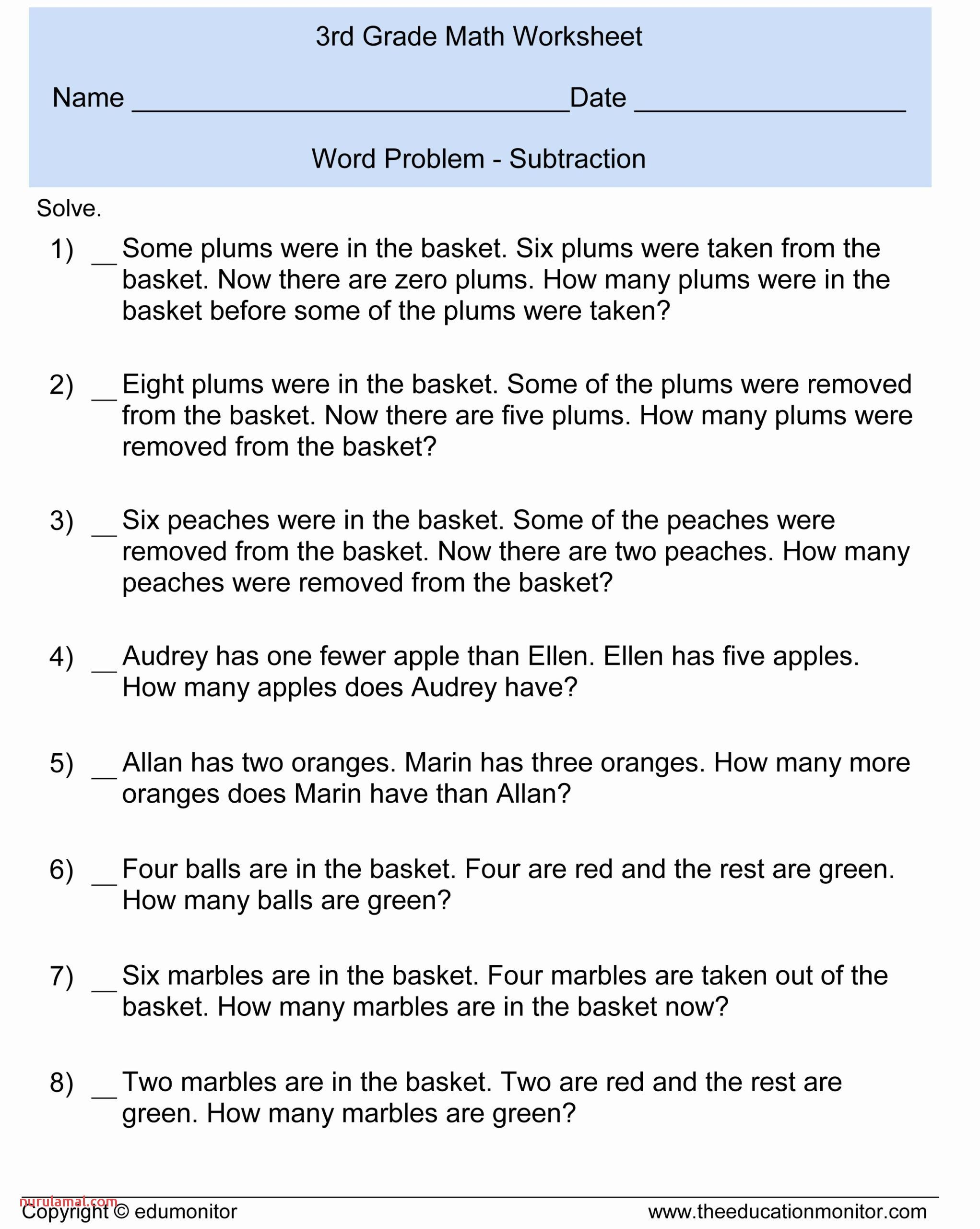 Printable Math Worksheets Multiplication Word Problem In