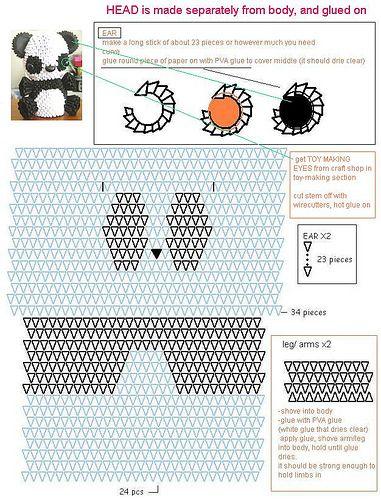 3D Origami Panda Diagram