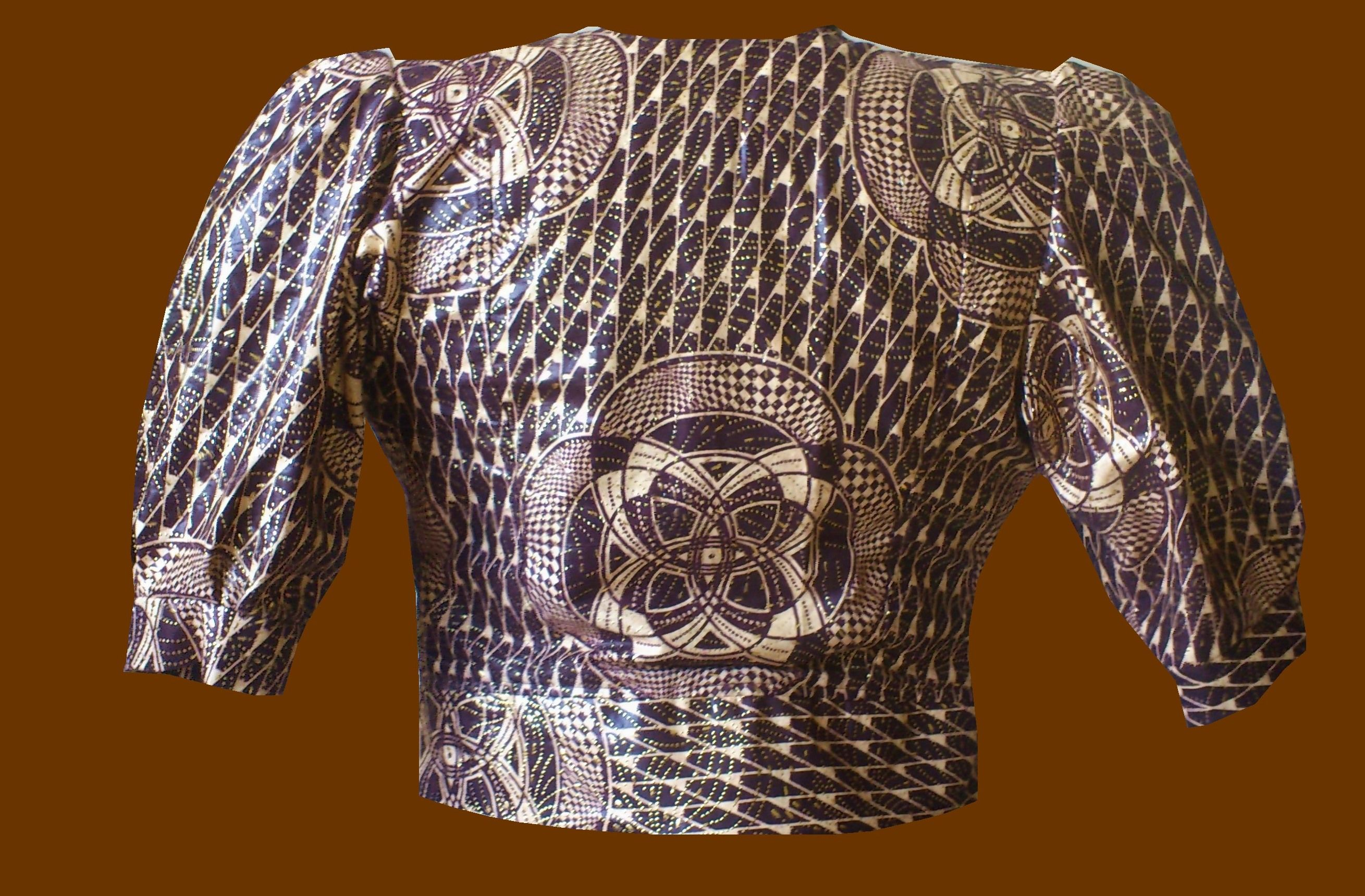 Stylish top , fabric ,African metallic, brown color, up for sale