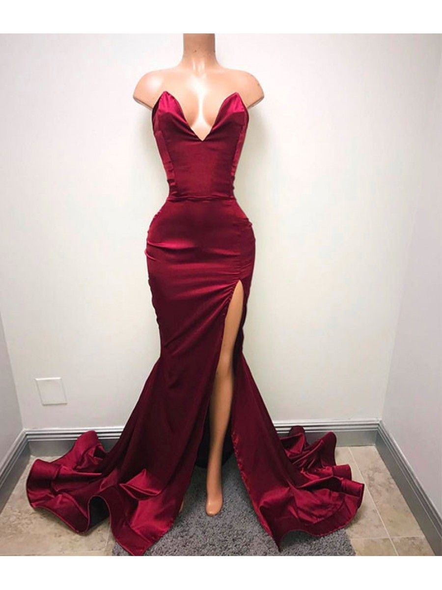 Mermaid vneck long prom dresses party evening gowns prom