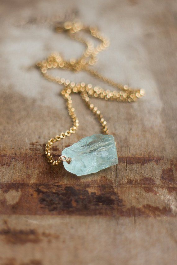 Photo of Raw Aquamarine Necklace, March Birthstone Healing Crystal Necklace – Miraculous …