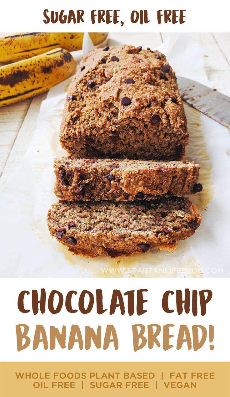 Sugar free oil free chocolate chip banana bread recipe vegan sugar free oil free chocolate chip banana bread forumfinder Images