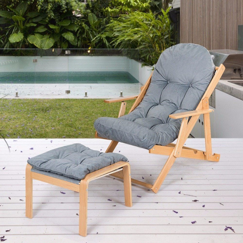 Folding recliner adjustable lounge chair padded armchair