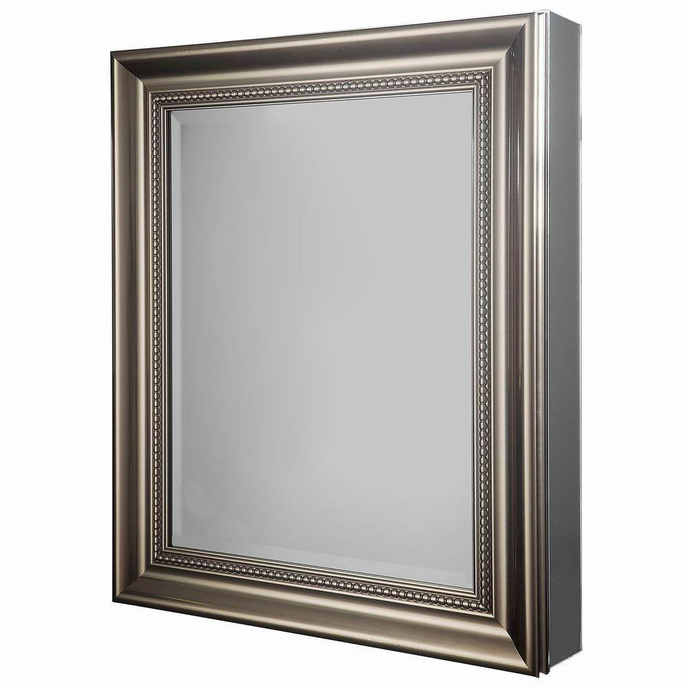 Glacier Bay 24 In W X 30 In H Framed Recessed Or Surface Mount Bathroom Medicine Cabinet In Brushed Nickel Sp4450 Surface Mount Medicine Cabinet Medicine Cabinet Mirror Recessed Medicine Cabinet