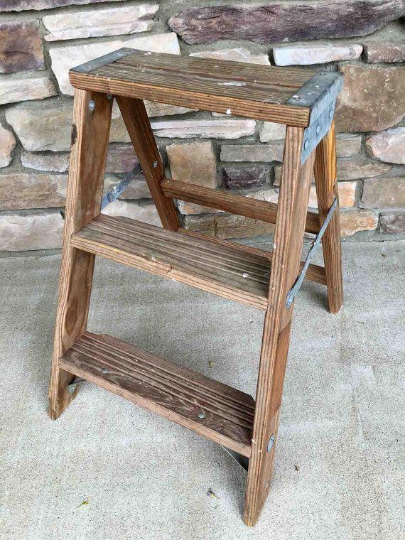 Best Vintage Wooden 3 Step Ladder Unique Shelves Wooden 400 x 300