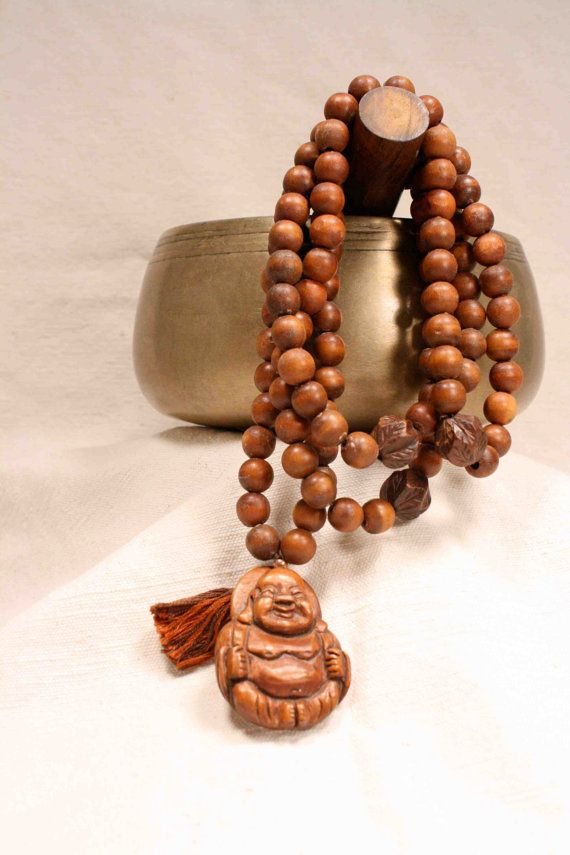 108 Wood Bead Baby Buddha Mala Prayer Beads Rosary by QuietMind, $55.00