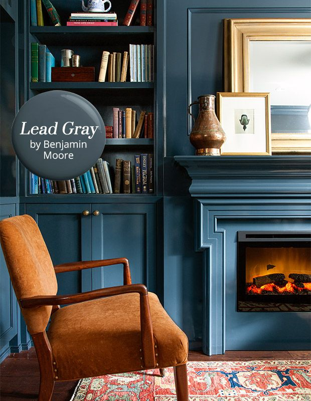 The paint color: Lead Gray (2131-30) by Benjamin Moore – adeepblue-grey that calls to mind the crushing waves of the sea at dusk. Why we love it: This handsome shade isdark and moody, but also has richness and warmth. Howto use it: Try this serious but not somber huein a cozy office, study or library, …