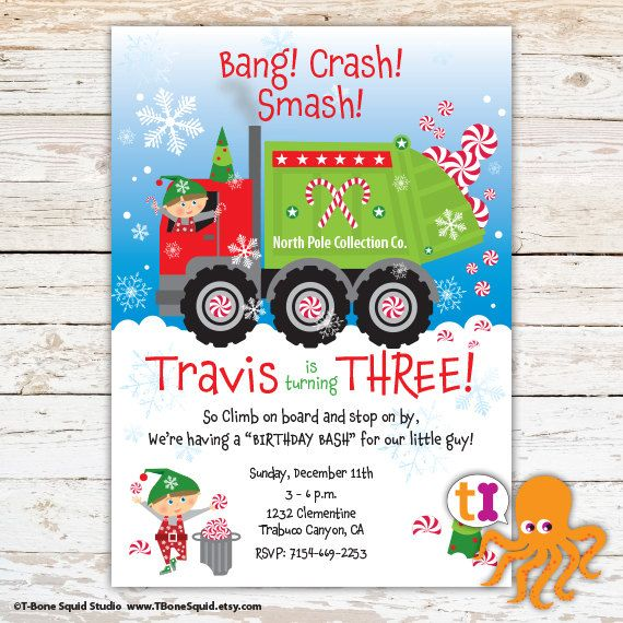 Christmas garbage truck birthday party invitation boys by christmas garbage truck birthday party invitation boys by tbonesquid on etsy filmwisefo Image collections