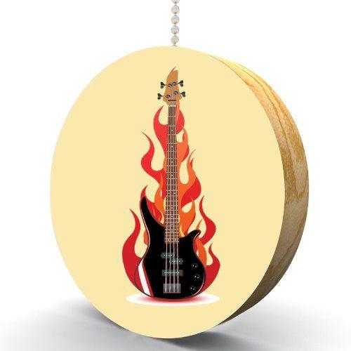 Electric guitar flames hardwood oak fan light pull handcrafted electric guitar flames hardwood oak fan light pull handcrafted music themed ceiling fan pull mozeypictures Choice Image