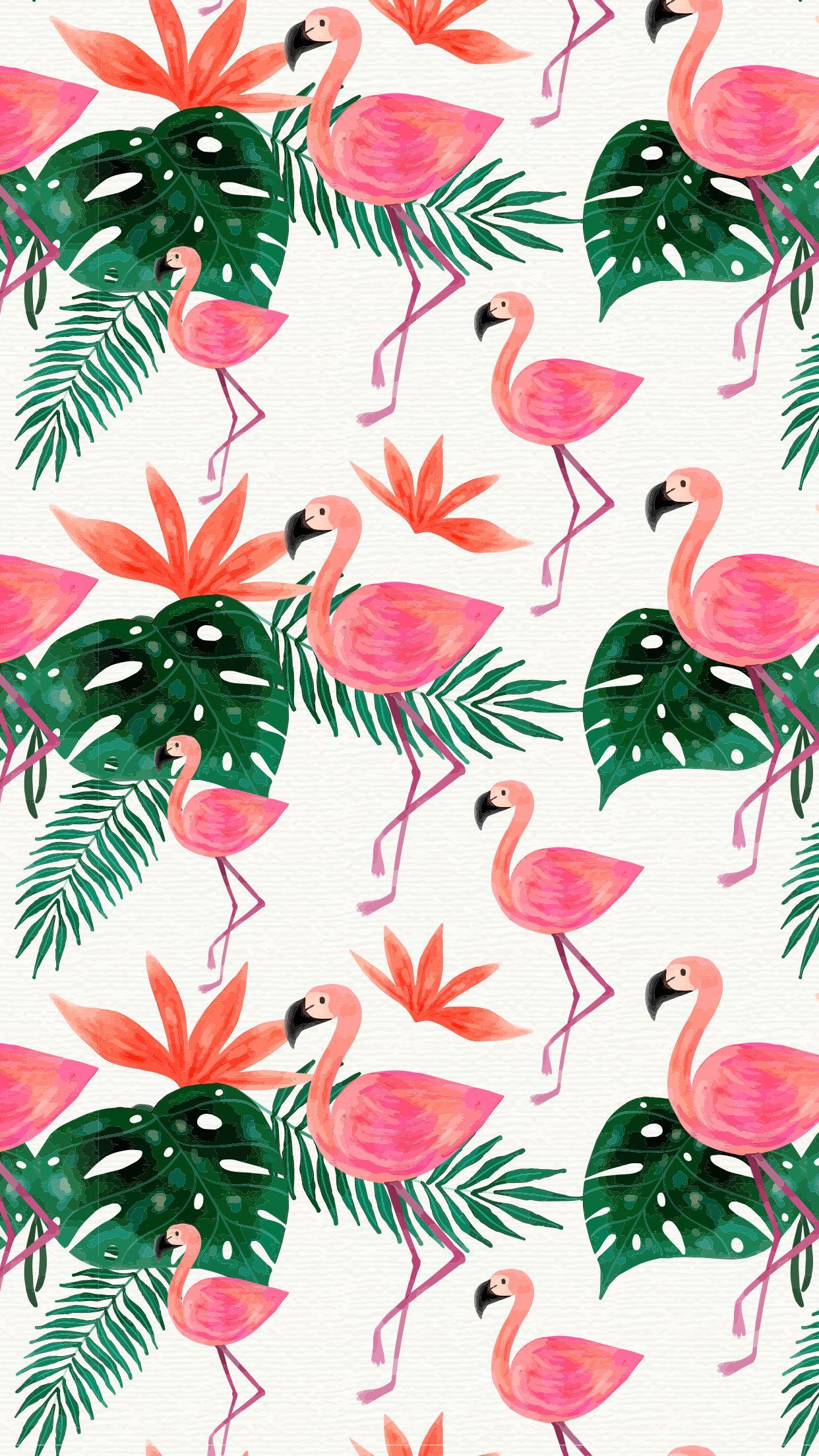 Watercolor Flamingo Cuteness Mobile Wallpaper Tropical Pink Green Pink Wallpaper Backgrounds Flamingo Wallpaper Watercolor Wallpaper