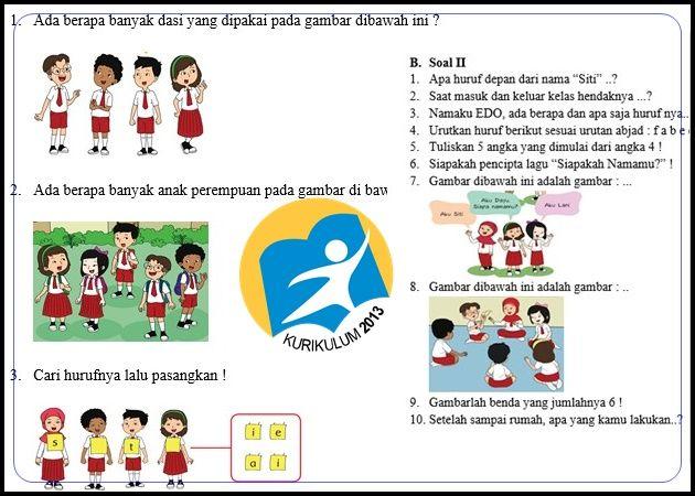 Bank Soal Kurikulum 2013 Kelas 1 Semester 1 Revisi Tahun 2017 Kurikulum Pendidikan Huruf