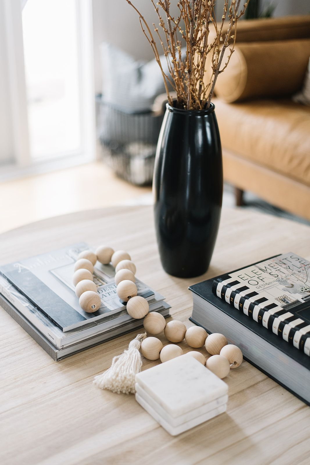 Coffee Table Styling Diy Wooden Beads Coffee Table Accessorizing Table Decor Living Room Decorating Coffee Tables [ 1600 x 1067 Pixel ]