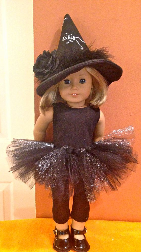 American Girl Doll Halloween Costume. Complete with leggings, tshirt, tutu and hat or headband. Shoes not included #dollcostume