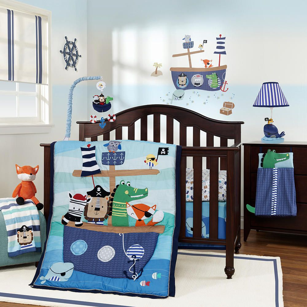 Lambs & Ivy Little Pirates 17 Piece Bedding Set - Lambs & Ivy