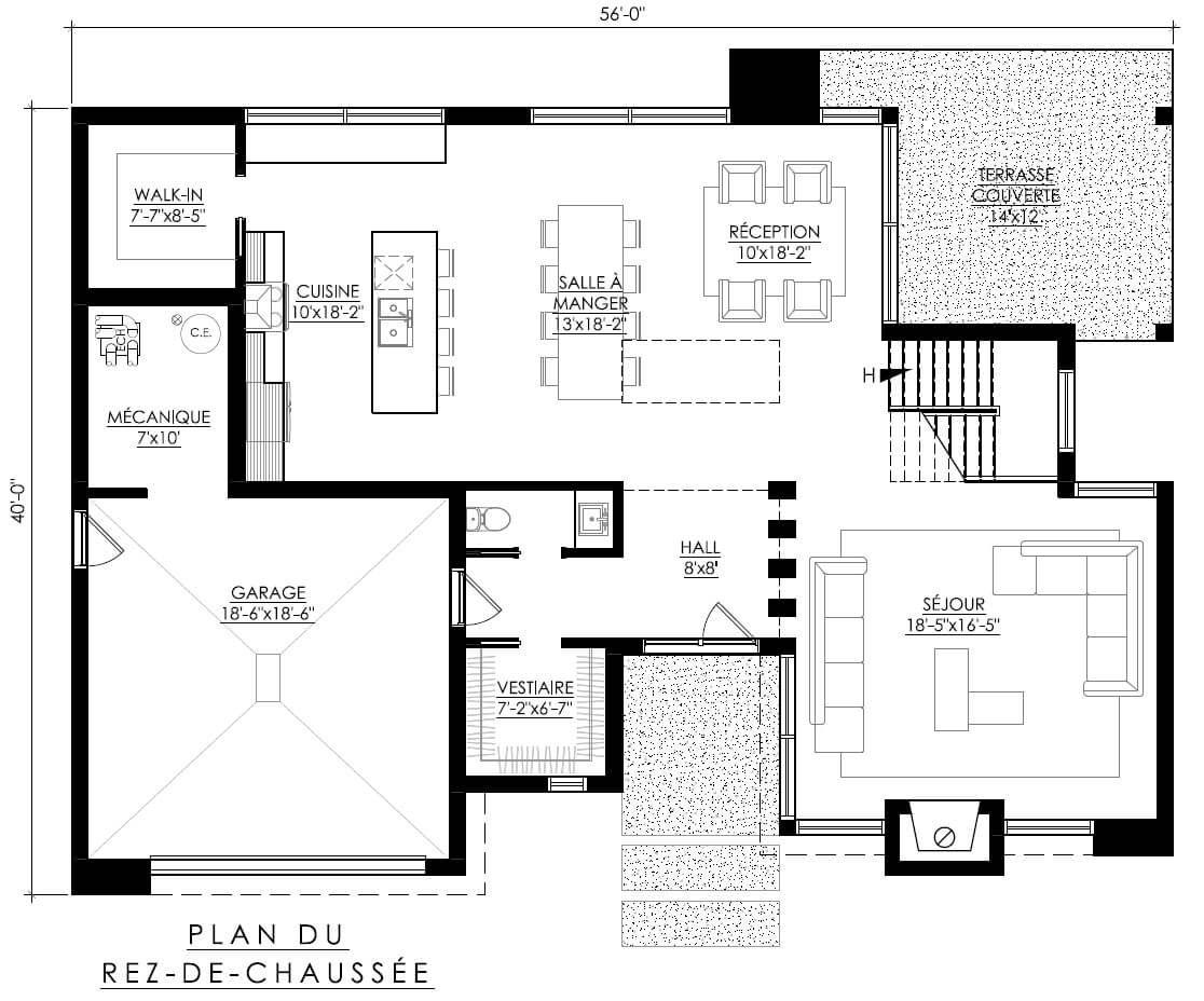 Notre Plan De Maison Moderne Ë_118 Est Vendu Directement En Ligne Et Est  Déjà Réfléchi Selon