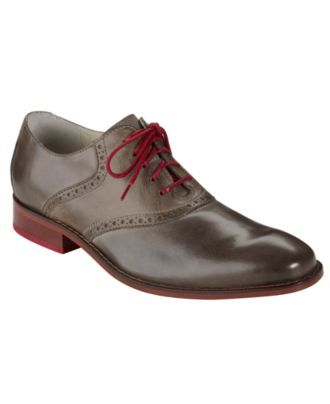 Cole Haan Shoes, Air Colton Saddle Lace Up Oxfords - charcoal grey and red  laces