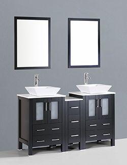 "60"" Bosconi AB224S1S Contemporary Double Vanity #HomeRemodel #BathroomRemodel #BlondyBathHome #BathroomVanity"