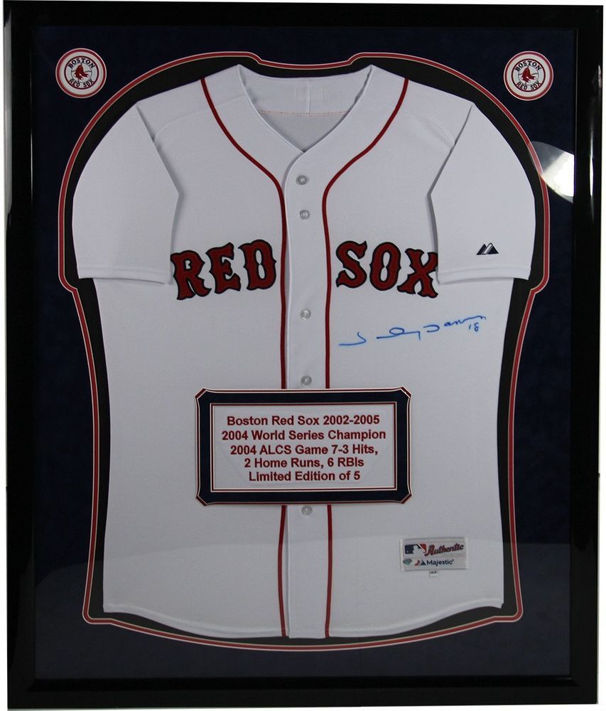 b7c8be6794a Johnny Damon Signed and Elite Framed White Red Sox Jersey w  Embroidered  Stat.