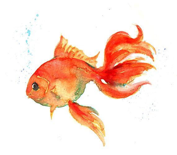 Watercolor Art Print, Orange Watercolor Gold Fish Home Decor, Orange Decor - 126