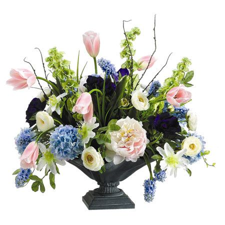 Displayed in an urn-inspired planter, this faux hydrangea and peony arrangement brings garden chic style to your home.  Product: