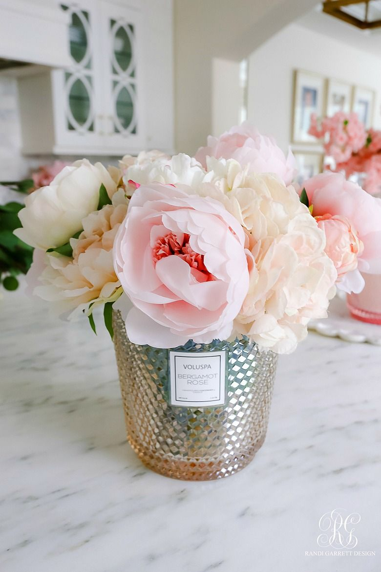 Simple Valentine S Day Faux Floral Arrangements Randi Garrett Design Faux Floral Arrangement Flower Arrangements Diy Faux Flower Arrangements