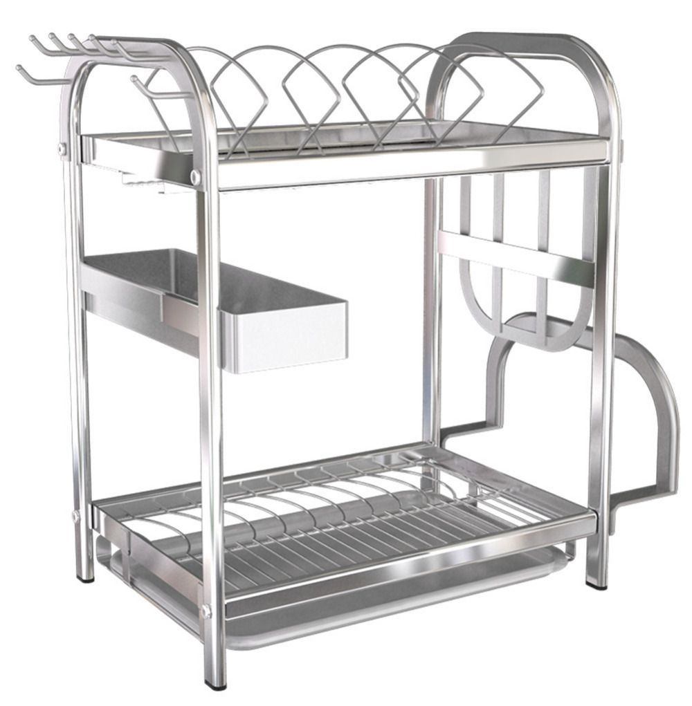 Uncategorized Kitchen Rack Stainless Steel 2 tier 304 stainless steel dish drainer kitchen rack cutlery holder glassescups bowls