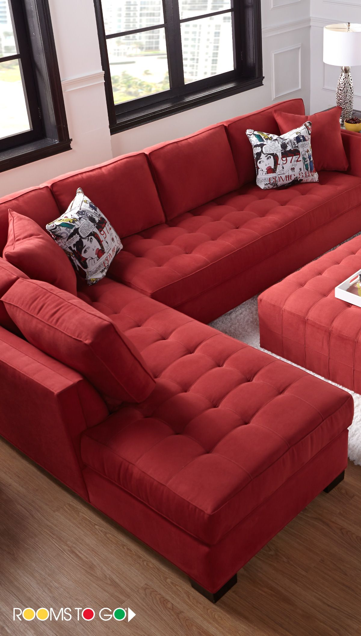 Cindy Crawford Home Calvin Heights XL Cardinal 2 Pc Sectional ...