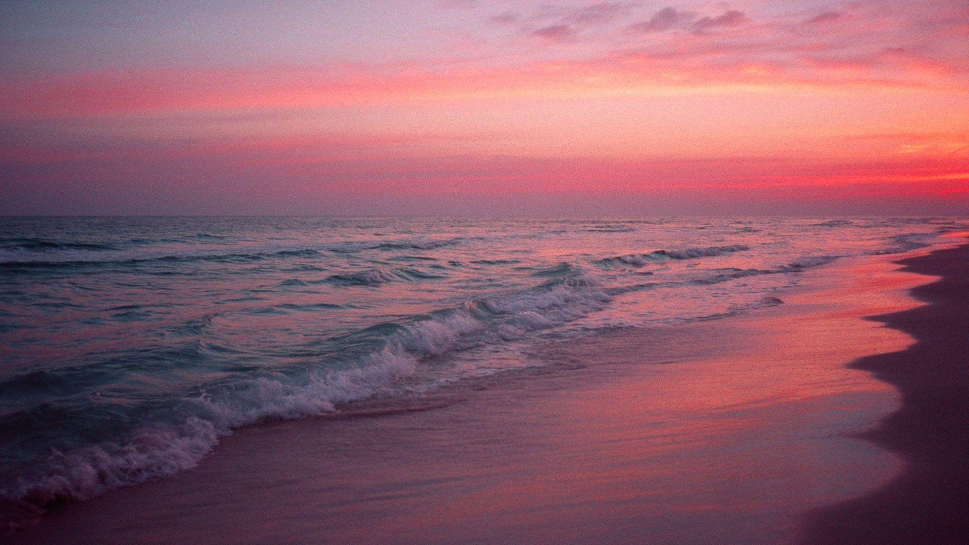 Pink Beach Sunset Wallpaper: Pink Beach 14 Wallpaper Background Hd