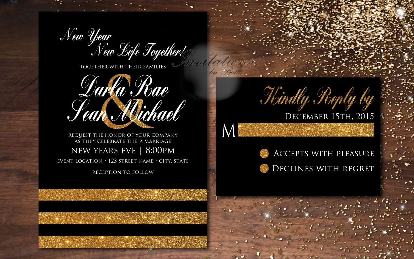 New Years Black And Gold Glitter White Eve Wedding Elegant Formal Invitation