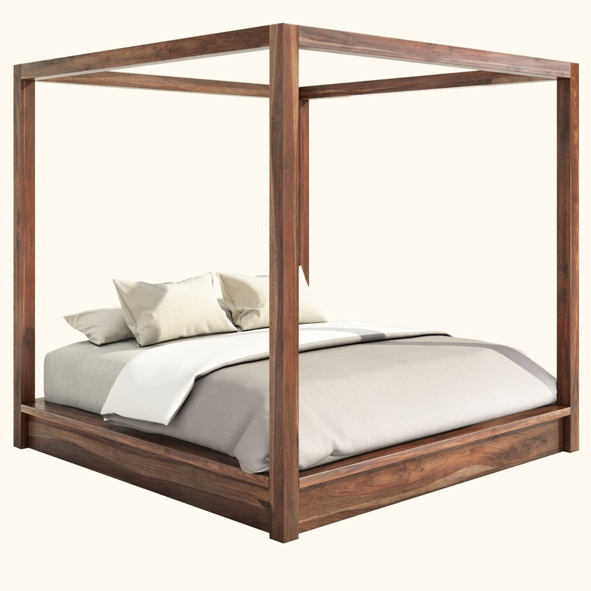 Hampshire Rustic Solid Wood Canopy Bed W Nightstands Platform