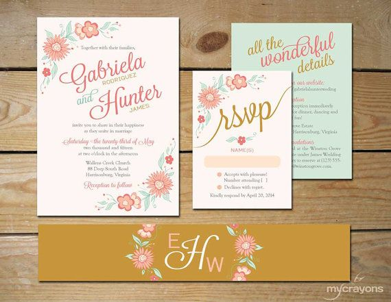 Light Romantic Floral Printable Wedding por MyCrayonsPapeterie