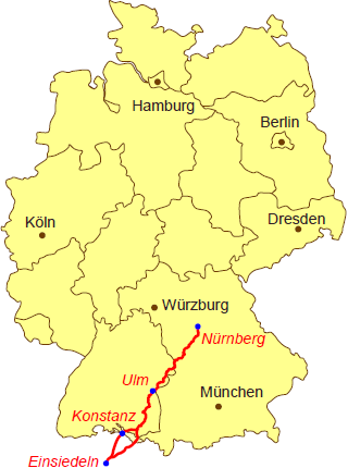 Nürnberg Karte Deutschland.übersichtskarte Jakobsweg Karte Deutschland Jakobsweg