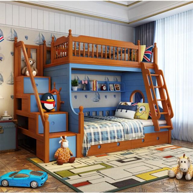 Mediterranean Style Solid Wood Children Bunk Beds Bedroom Furniture Set Buy Children Bunk Beds Wooden Bunk Be In 2020 Kid Beds Kids Bedroom Design Kids Bedroom Decor