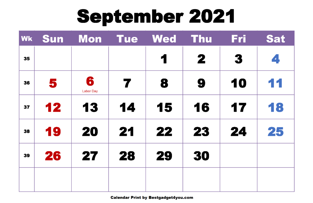 September 2021 | Printable calendar template, Monthly calendar