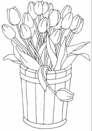 Tulips coloring page 25 | Free Flowers coloring book | Pinterest ...