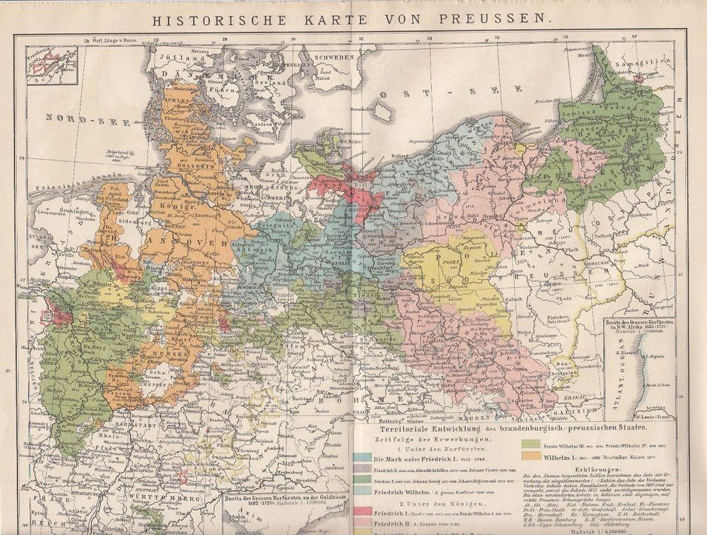 1895 Historische Landkarte Antique Map Preussen Pommern