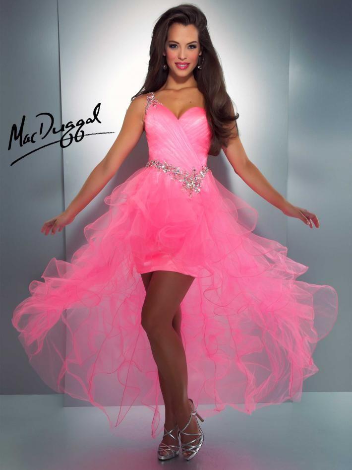 Hot Pink One Shoulder High-Low Prom Dress - Mac Duggal 81829A | Prom ...