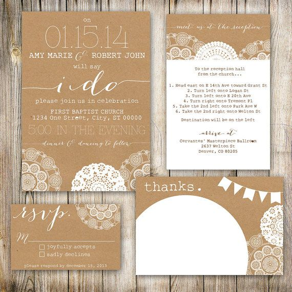 Wedding Invitation Set Shabby Chic Country Themed Invitations