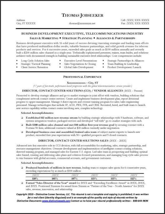 sample telecommunications executive resume 1
