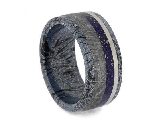 Mokume Gane Wedding Band With Meteorite, Lapis Lazuli And Titanium Inlays, Meteorite Ring, Lapis Lazuli Jewelry