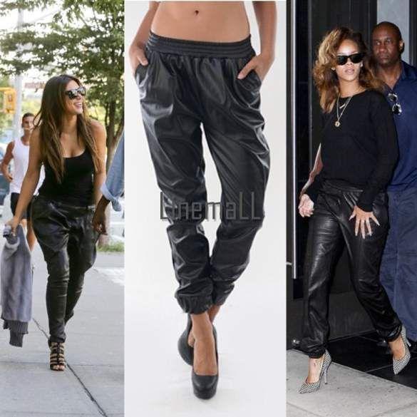 Baggy Spodnie Skorzane Dresowe Sciagacz Czarne S 5325854373 Oficjalne Archiwum Allegro High Fashion Street Style Leather Joggers Fashion