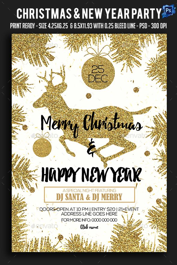 Christmas \ New Year Party Flyer Party flyer, Flyer template and - new year brochure template