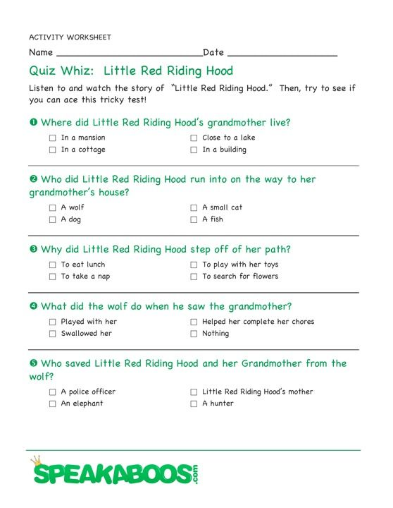 Quiz Whiz Little Red Riding Hood Speakaboos Worksheets With